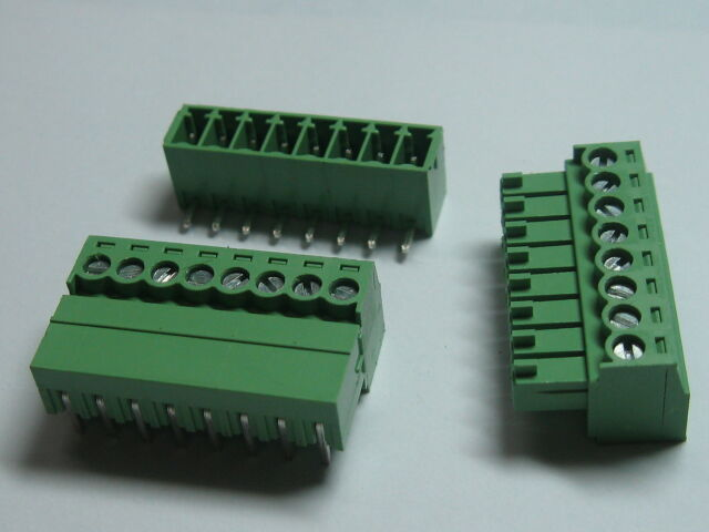 12 pcs Screw Terminal Block Connector 3.5mm Angle 8 pin/way Green Pluggable Type