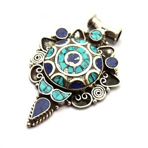 Turquoise-Lapis-Pendant-Tibetan-Nepalese-Silver-Plated-Tibet-Nepal-PD956