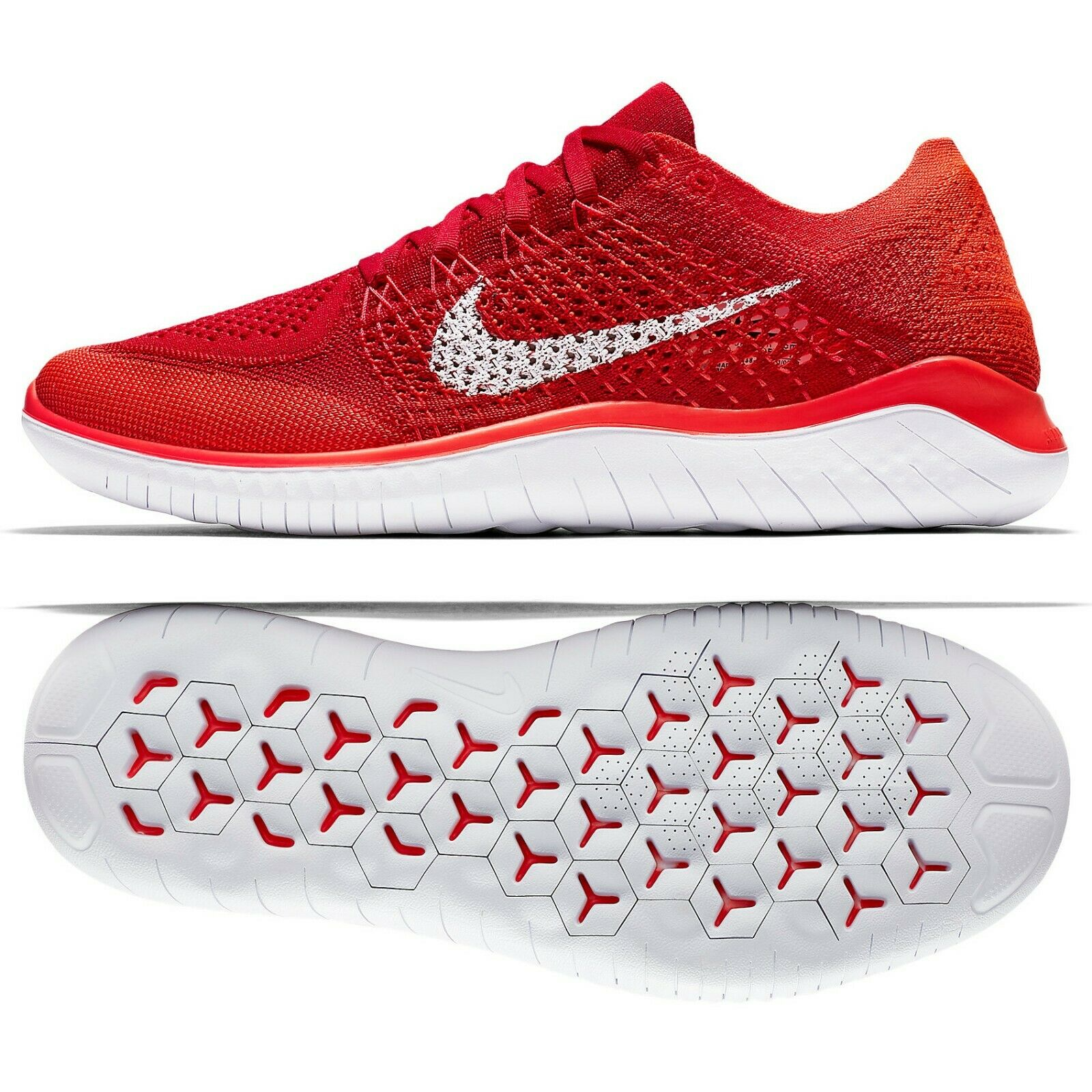 Nike Free RN Flyknit 2018 University Red White 942838-601 Men's Running shoes