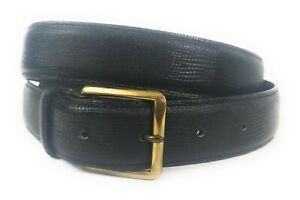 Burberrys-Black-Leather-Belt-Size-34-Textured-Leather-EUC