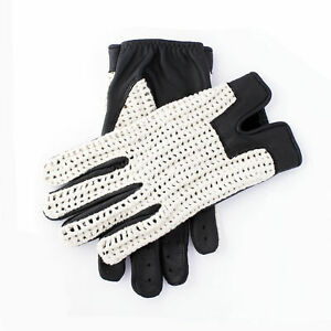 Men-039-s-Vintage-Soft-Black-Goatskin-100-Geniune-Leather-Cotton-Crochet-Gloves