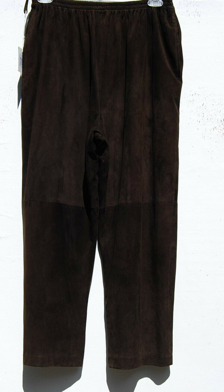 NWT Eskandar DARK braun Leather Fully Lined Wide Leg Long Trouser (3)  2890