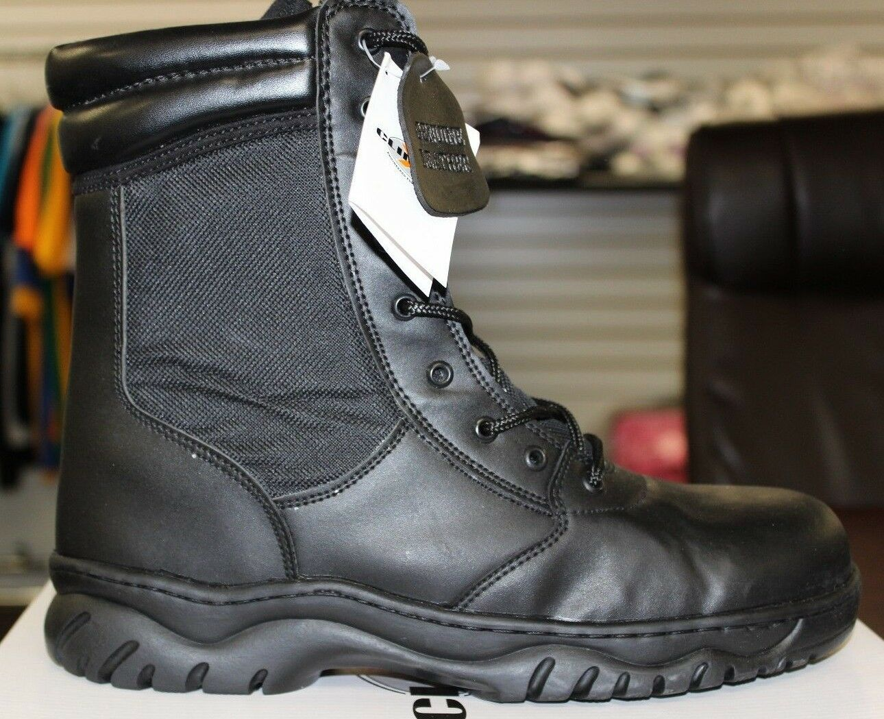 Climate X Black Swat Work Boots Zipper Leather Upper Rubber Sole Officer