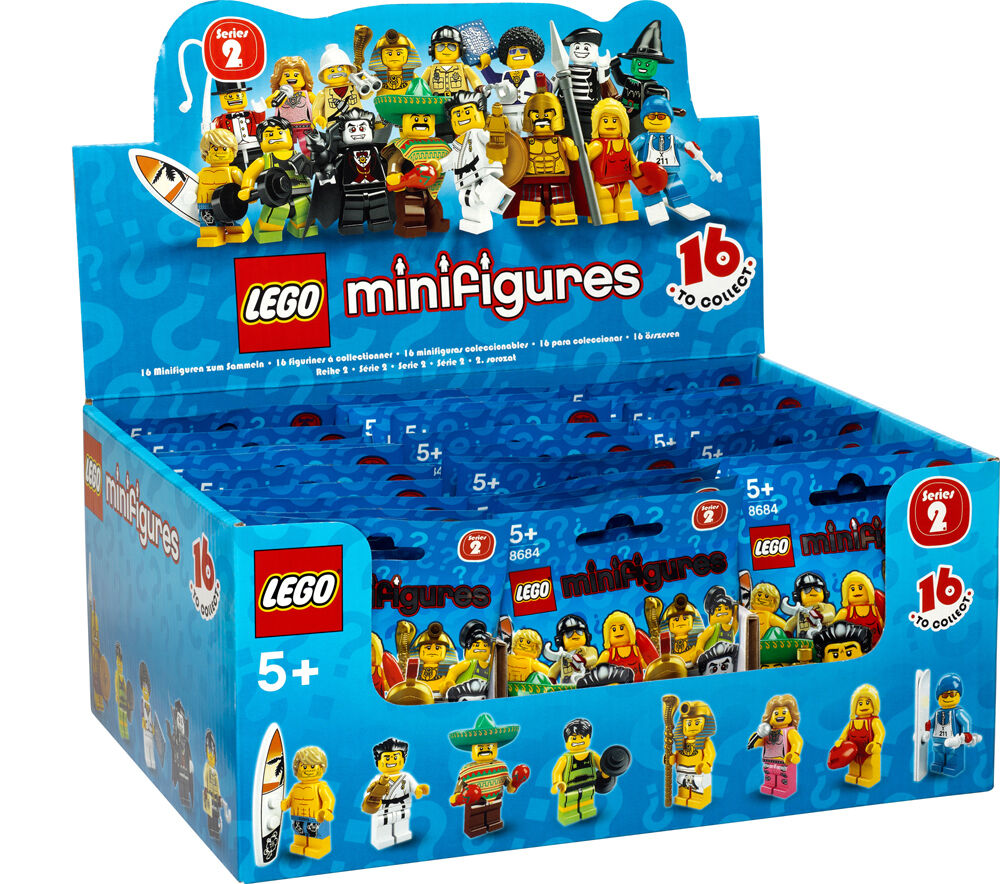 Nuovo Factory Sealed LEGO 8684 Box/Case of 60 Minifigures Series 2