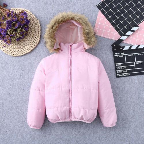 Toddler Kids Baby Boy Girl Winter Warm Faux Fur Hooded Jacket Coat OuterKids Bab