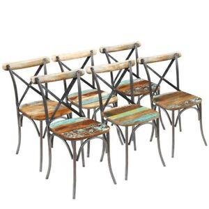 vidaXL 2x Sillas de Salón Comedor Estilo Vintage Madera Reciclada ...