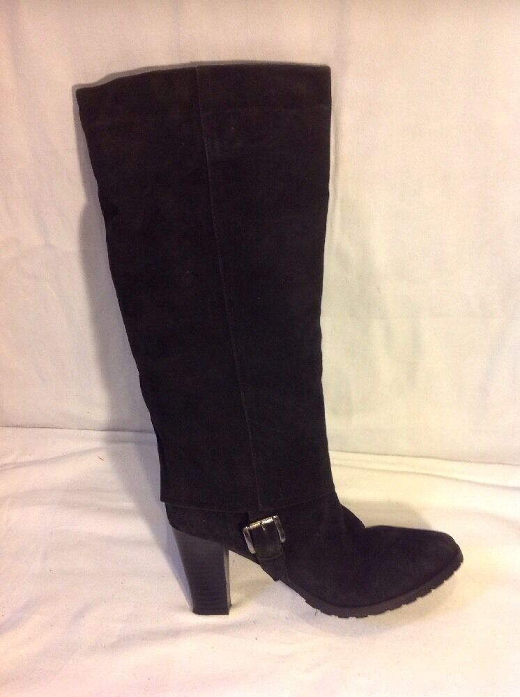 Adriana Del Nista Black Knee High Suede Boots Size 40