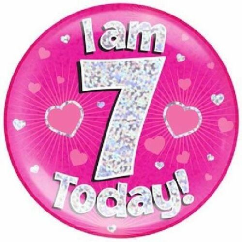 """6/"""" Jumbo Pink I Am 7 Today Badge Holographic Girls 7th Party Supplies Stand Pin"""
