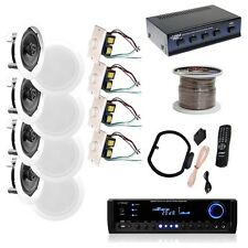 "NEW Pyle KTHSP590 4 150W 5.25"" In-Wall/Ceiling Speakers  300W Receiver w/ Wires"