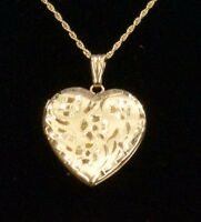 2.6 Dwt 14k Yellow Gold Heart Locket On 17 Inch Necklace