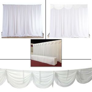 White Backdrop Curtains Swag Ice Silk