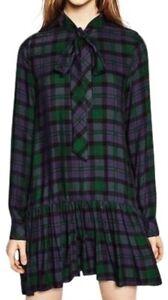 EUC ZARA TRF women's plaid colorblock dropwaist long sleeves mini dress sz US L