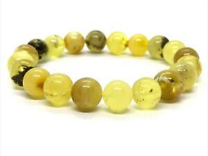 AMBER-BRACELET-Natural-BALTIC-AMBER-Round-Beads-Yellow-Elastic-Ladies-9-6g-12746