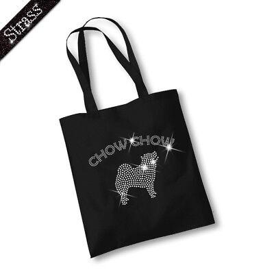 Jutebeutel Beutel Bag Einkaufstasche Shopper Strass Hund Chow Chow M1