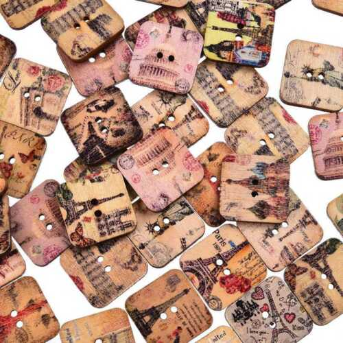 50Pcs Creative Square Wood Button 2 Holes Mixed Style Sewing Craft Decoration