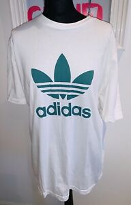 STYLISH Adidas LOGO T SHIRT TOP White Green SIZE XXL Unisex