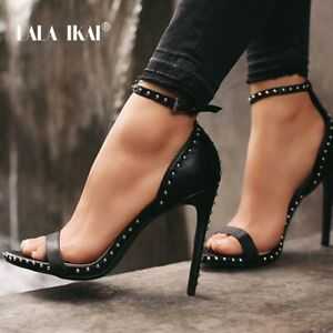 Women-039-s-Stiletto-Heel-Leather-Studded-High-Heels-Summer-Ankle-Buckle-SexySandals