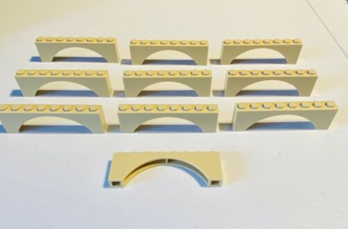 LEGO 10 pc Tan Sand 1x8x2 Castle Brick Arch Part 3308 16577 Bridge