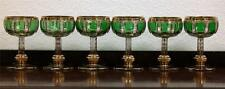 Bohemian Moser Colored Green Six Glasses Gold Decor early 20th century