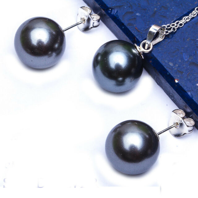 "10MM-12MM BLACK PEARL .925 Sterling Silver Earrings & Pendant Set w/ 18"" Chain"