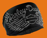 Harley-davidson Womens Studded Harley Wings With B&s Headband Scrunchie