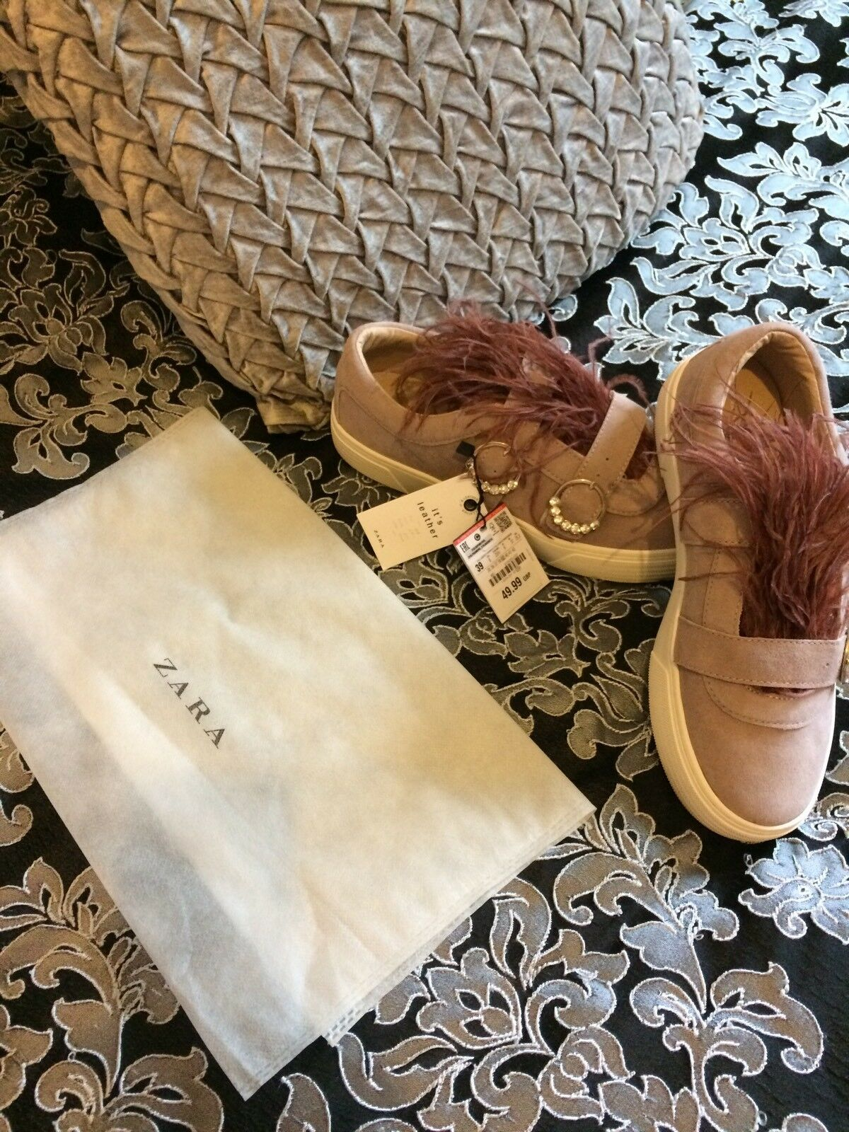 ZARA Suede Sneakers Pumps Flat Bejewelled Feather shoes Size 6 BNWT