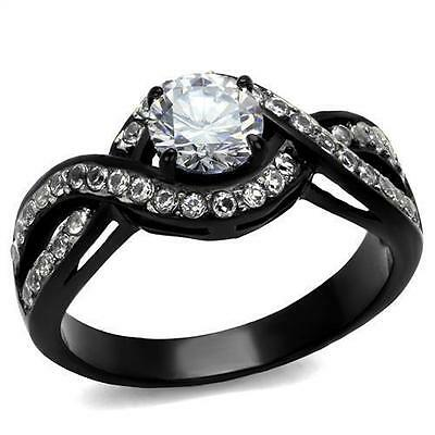 Nationalonlinediscounts Round Cut Cz Stainless Steel Black /& Chocolate 2 Piece Wedding Engagement Ring Set Size 5,6,7,8,9 /& 10