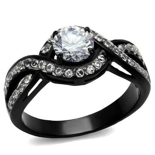 1.7 Ct Round Cut Halo cz noir en acier inoxydable engagement Twist Band Ring