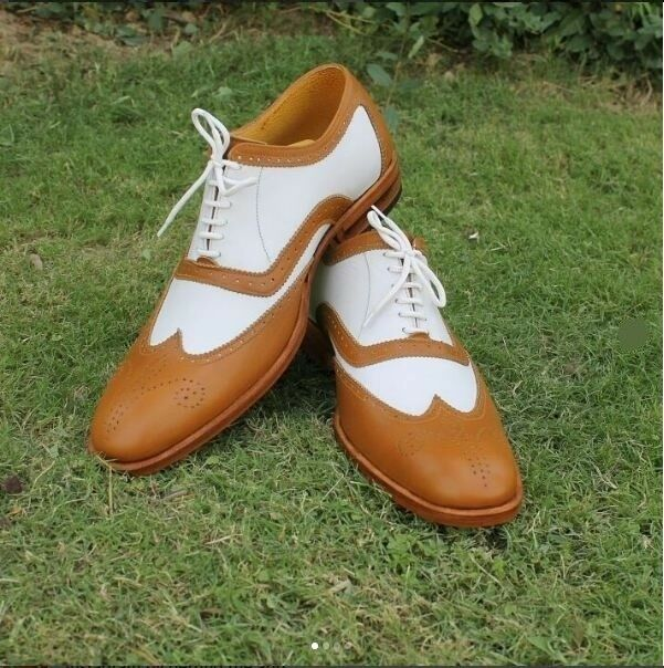 Handmade Uomo two tone shoes, shoes, tone Uomo white and tan spectator shoe, wingtip shoes Uomo