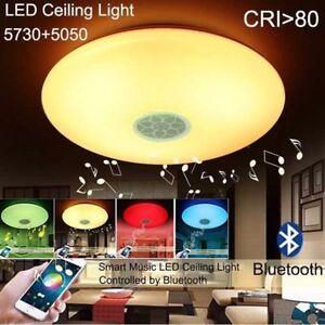 Altavoz-Bluetooth-Smart-LED-Luz-de-Techo-Luz-Moderno-Lampara-RGB-24W-Regulable