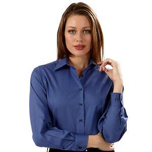 Van-Heusen-Ladies-039-Pinpoint-Long-Sleeve-Shirt-Persian-Blue-Size-Small