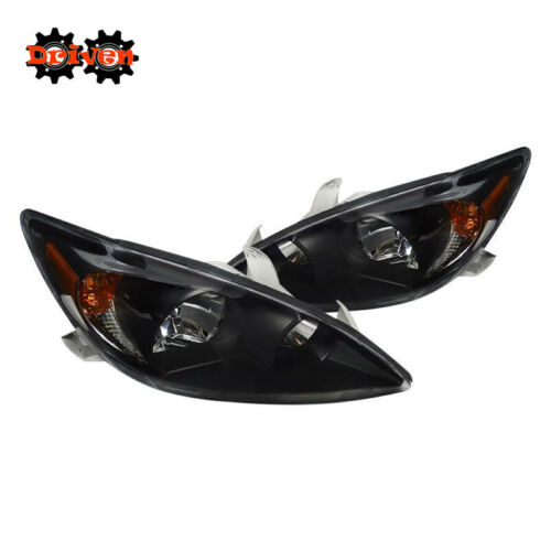 For 2002-2004 Toyota Camry Black Euro Headlights Replacement Lights