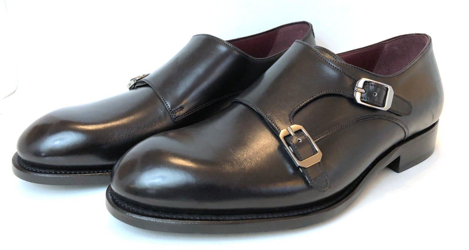Brioni NEUF en Cuir Noir Double Moine Bracelet Formelle Chaussures USA 10 Eur 43 UK 9