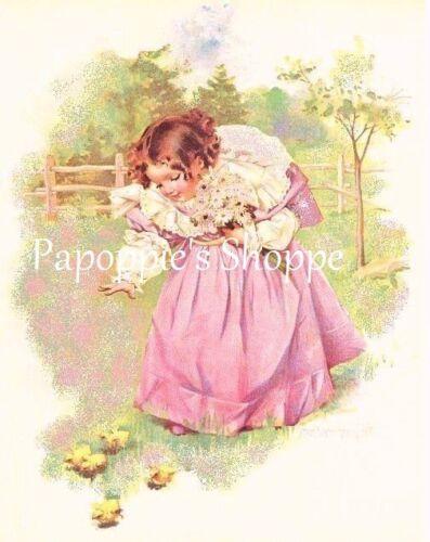 Maud Humphrey Fabric Block Feeding the Chicks Image printed onto Fabric