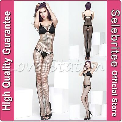 Fishnet Bodystocking Open Crotch Black and White Selebritee C116