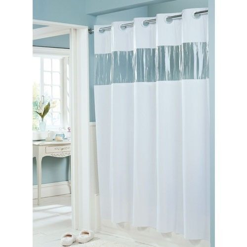 Hookless Shower Curtain White 71 X 74 Vinyl Vision See Thru Window 8 ...