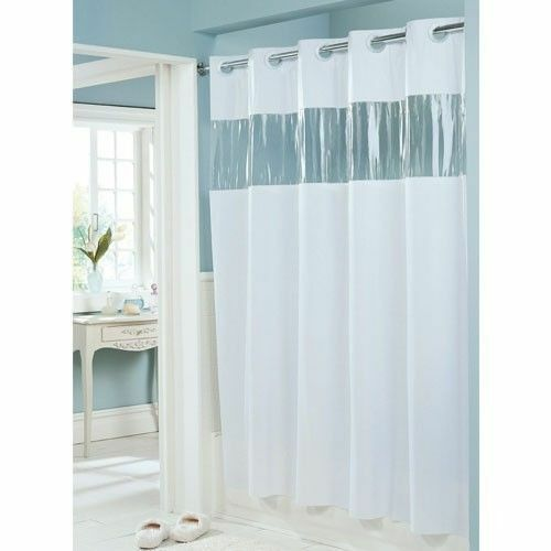 Hookless Hbh08vis01 Vision Shower Curtain White With Clear Top