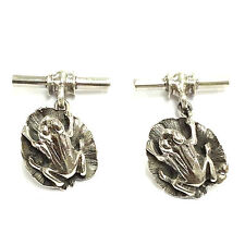 NOVELTY ANTIQUE STYLE FROG ON LILY PAD CUFFLINKS 925 SOLID SILVER MENS GIFT