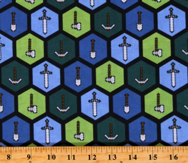 Cotton Minecraft Tools Video Games Gaming Blue Fabric Print by the Yard D302.42