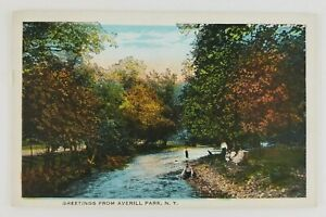 Postcard-Greetings-From-Averill-Park-New-York-Family-Hanging-Out-Creek-Side