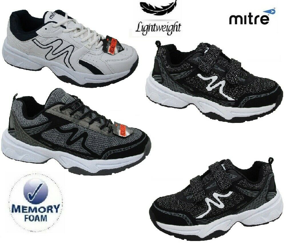 MENS TRAINERS MITRE LIGHWEIGHT MEMORY FOAM TOUCH FASTENING SPORTS SHOES SIZE