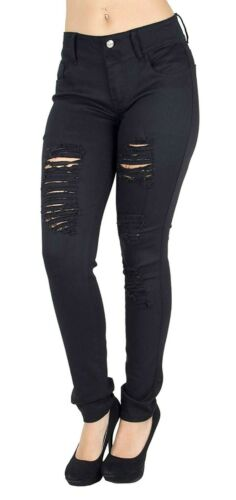 WOMENS PLUS SIZE Stretch Distressed Ripped SKINNY DENIM JEANS PANTS 14 to 34