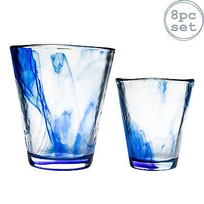 430ml Bormioli Rocco Murano Water Juice Tumbler Blue Drinks Glasses Set of 8
