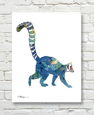 Lemur Abstract Watercolor Painting Art Print by Artist DJ Rogers