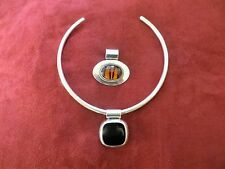 AMAZING VINTAGE 925 STERLING SILVER NECKLACE WITH 2 PENDANTS! BEAUTIFUL....