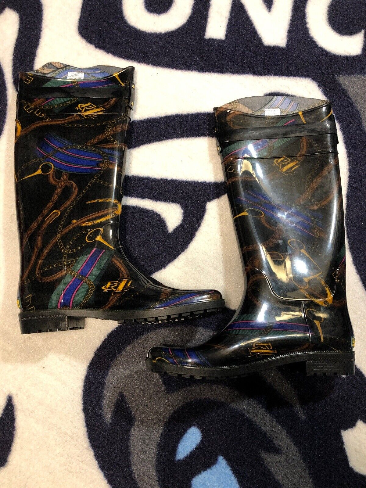 Ralph Lauren Rossalyn Rain Boots Girth Print, Woman 11 B NEW Floor Model Casual