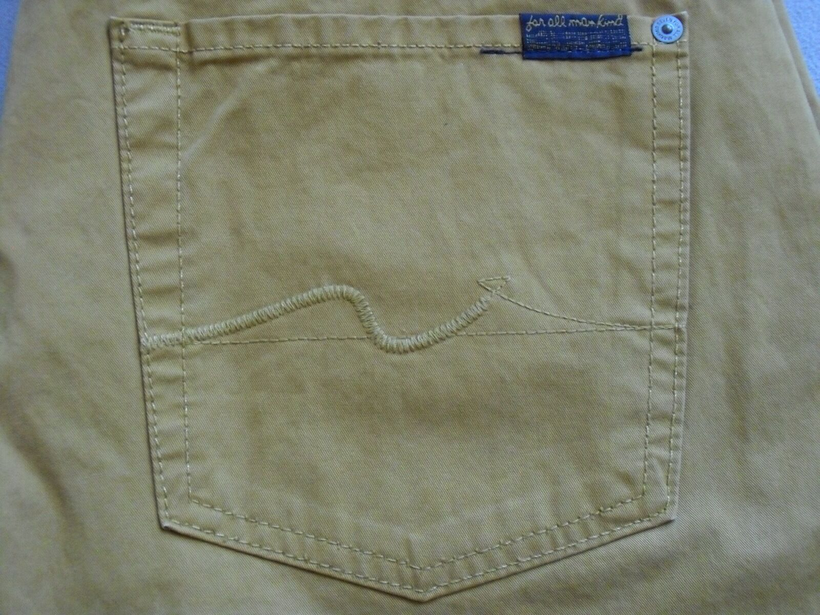 SEVEN 7 FOR ALL MANKIND MENS THE STRAIGHT MUSTARD YELLOW JEAN PANTS SIZE 31 NEW