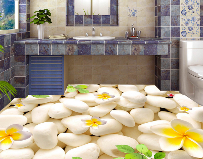 3D Bright Petal Stone 457 Floor WallPaper Murals Wall Print Decal AJ WALLPAPER