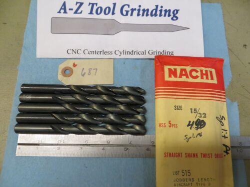 "5 Nachi  15//32/"" Straight Shank Jobber Length Aircraft Type B Drills  *564"