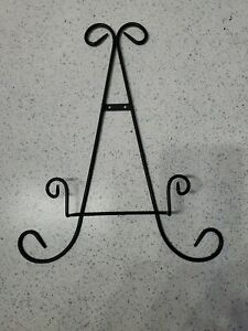 16-034-Black-Metal-Easel-Style-Decorative-Plate-Book-Holder-Rack-Wall